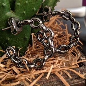 Lia Sophia Jewelry - 🎁 🆕 Lia Sophia Gun Metal Open Hoop Earrings NIB